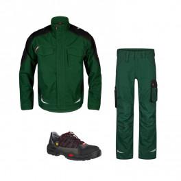 Летний комплект спецодежды Engel 1810-254 + 2810-254, зеленый/черный/ Jalas 1615