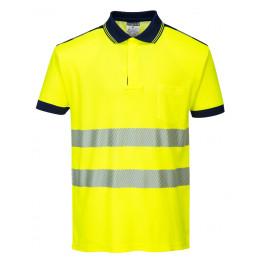 Футболка-поло Portwest T180, желтый-темно-синий