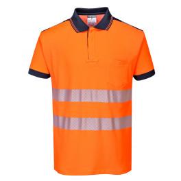 Футболка-поло Portwest T180, оранжевый-темно-синий