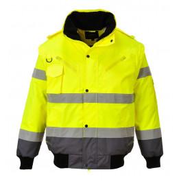 Зимняя светоотражающая куртка Portwest C465 3в1, желтый/серый
