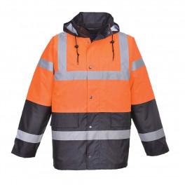 Зимняя светоотражающая куртка Portwest  S467 сигнальный оранжевый/тёмно-синий