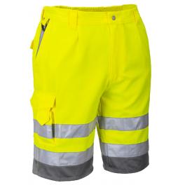 Светоотражающие шорты Portwest E043 (Англия). Жёлтый/серый
