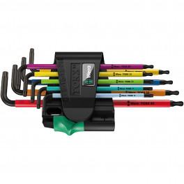 Набор Г-образных Ключей WERA 967 SPKL/9 TORX BO Multicolour BlackLaser, с шаром, 9 шт.