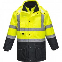 Зимняя сигнальная куртка Portwest S426, 7 в 1, сигнальный желтый / темно-синий