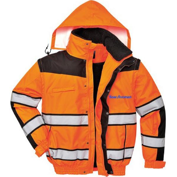 Зимняя светоотражающая куртка Portwest C466 3в1, сигнальный оранжевый/черный