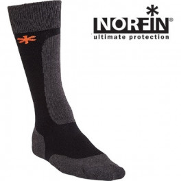 Носки Norfin WOOL LONG, черный/серый