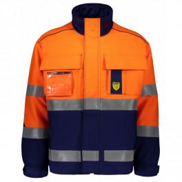 Зимняя антистатическая огнеупорная куртка Dimex 6004B, сигнальный оранжевый/синий