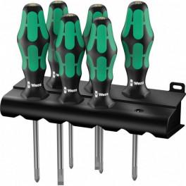 Набор отверток Wera 335/350/355/6 Kraftform Plus Lasertip + подставка, 6 предметов