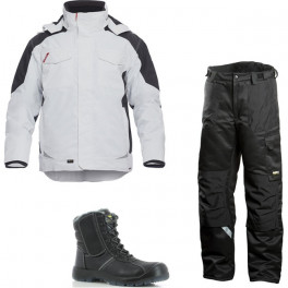 Зимний комплект спецодежды Engel Galaxy 1410-354 белый/серый + Dimex 682 черный/Safety Jogger Nordic S3