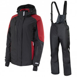 Зимний женский костюм Brodeks KW 208, чёрный/красный + KW 405
