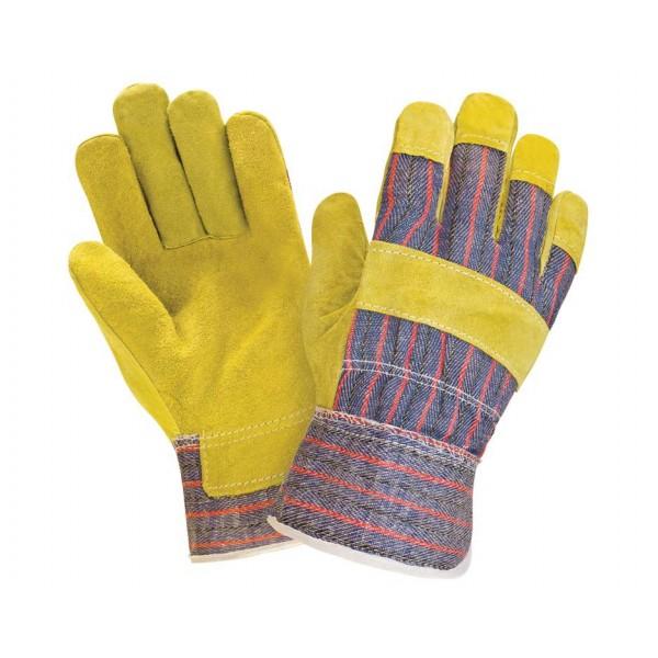Перчатки спилковые комбинированные 0115 желтые (СВSA)