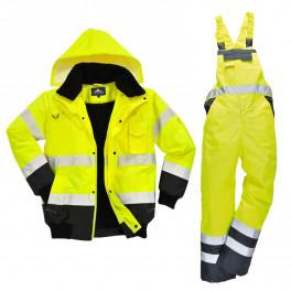 Зимний костюм Portwest c465 + s489 сигнальный желтый/черный