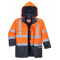 Антистатическая огнеупорная зимняя куртка PORTWEST S779, сигнальный оранжевый/темно-синий