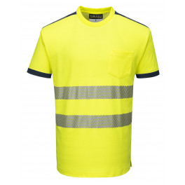 Светоотражающая футболка Portwest T181, желтый-темно-синий