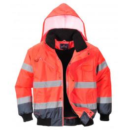 Зимняя светоотражающая куртка Portwest C465, сигнальный красный/тёмно-синий